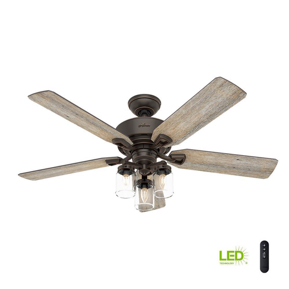 52 Onyx Bengal 4 Light Ceiling Fan With Light Kit: Hampton Bay San Lorenzo 52 In. Indoor Rustic Ceiling Fan