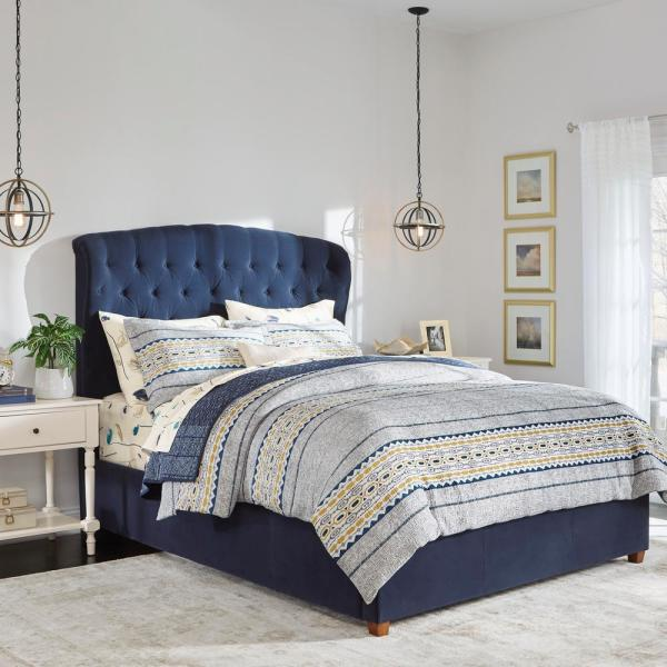 Home Decorators Collection Cecilia Midnight Blue Upholstered Queen Bed With Wingback Detail 65 In W X 61 8 In H 2435bqrm The Home Depot