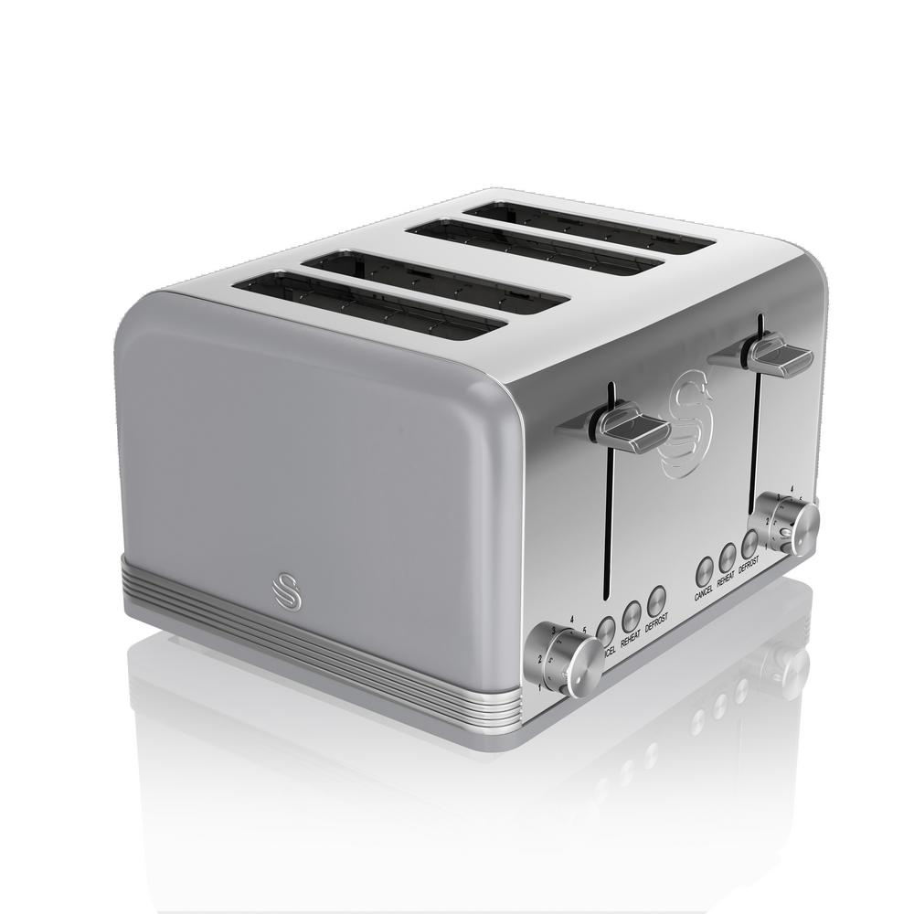 Retro 4-Slice Grey Toaster The 4 Slice Retro Toaster comes with an electronic browning control and the capacity to make up to 4 slices of toast at a time, perfect for the morning breakfast rush. Get your toast right with the auto centering feature on the Swan 4 Slice Retro Toaster and ensure your bread is just the way you like it. Compliments any kitchen. Color: Grey.