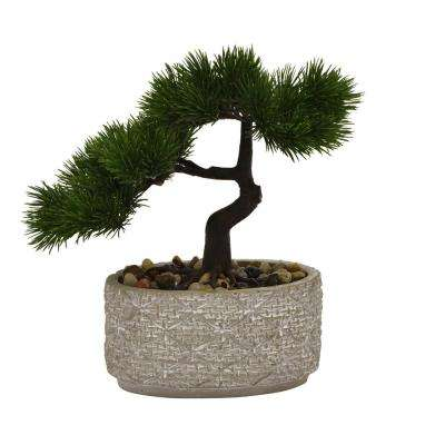 10 in. Faux Bonsai in Flower Pot in Green