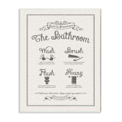 "12.5 in. x 18.5 in. ""Guide To Bathroom Procedures Linen Look"" by Lettered and Lined Printed Wood Wall Art"