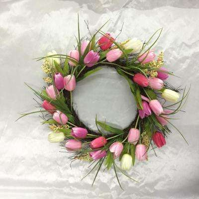 22 in. Tulip Wreath with Twig Base