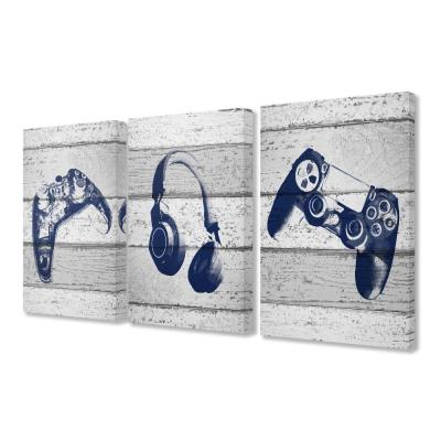 "16 in. x 24 in. ""Video Gamer Trio Controllers Headset Blue Graphics on Planks"" by Daphne Polselli Canvas Wall Art"