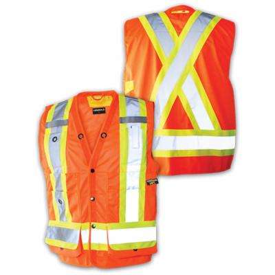 Men's Large Orange High-Visibility Reflective Safety Surveyor's Vest