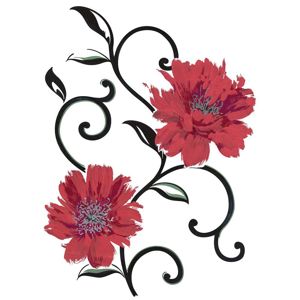 Spirit 25.5 in. x 33.5 in. Red Flowers Wall Decal