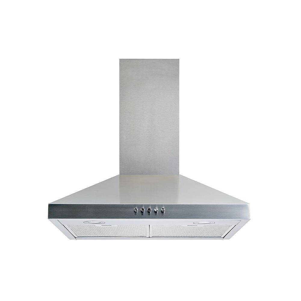 convertible wall mount range hood in stainless steel with aluminum mesh filters led