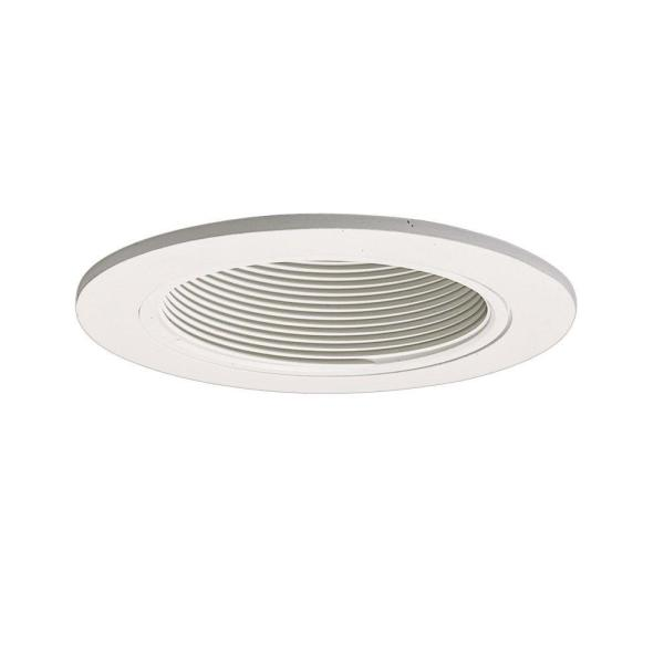 4 in. White Recessed Ceiling Light Trim with Baffle
