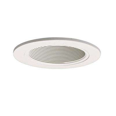 white recessed ceiling light fixture trim with baffle