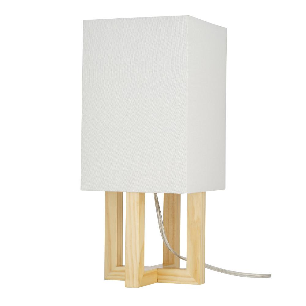 Cresswell 15 In Light Wood And Brushed Nickel Farmhouse Table Lamp