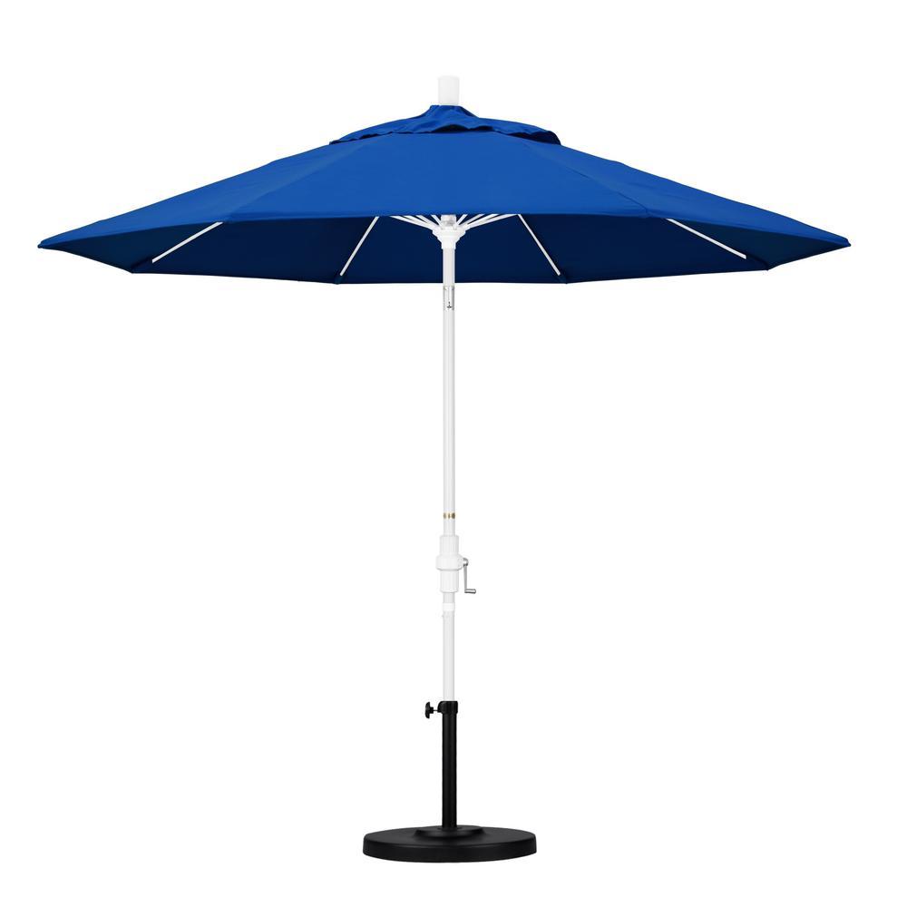 California Umbrella 9 ft. Fiberglass Collar Tilt Patio Umbrella in Pacific Blue Pacifica