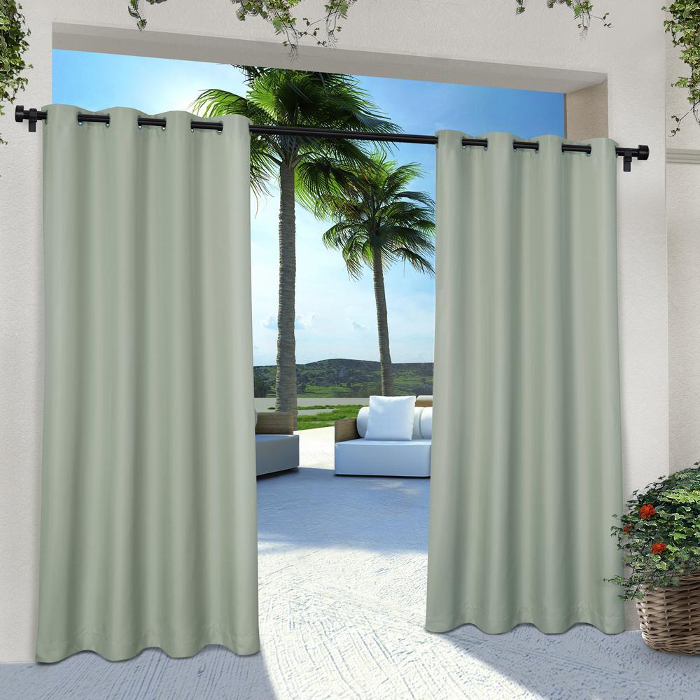 Indoor Outdoor Solid 54 in. W x 84 in. L Grommet Top Curtain Panel in Seafoam (2 Panels)