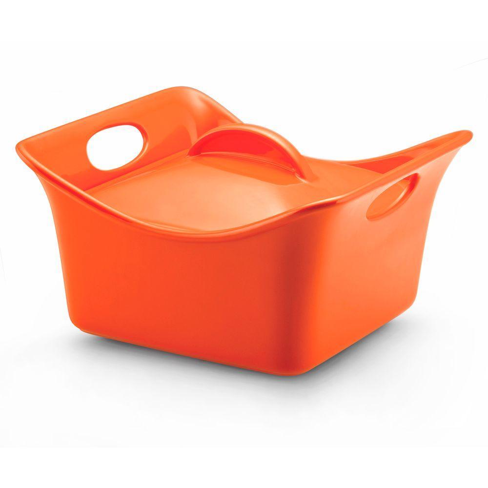 Rachael Ray 3-1/2 qt. Covered Square Casserole in Orange