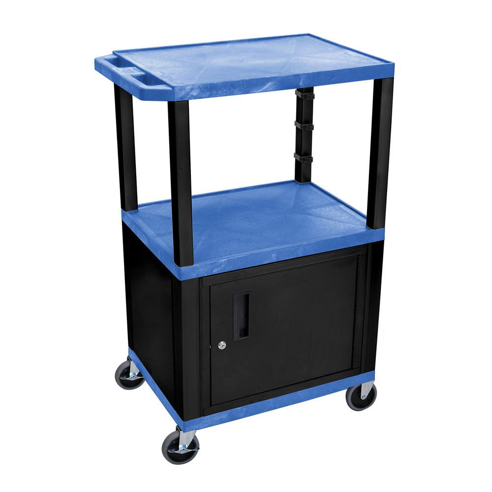 WT 26 in. A/V Cart with Black Cabinet, Blue Shelves