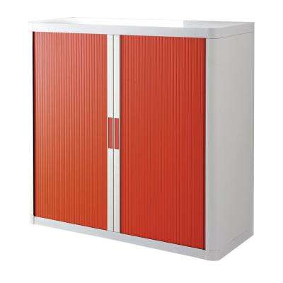 Paperflow easyOffice White and Red 41 in. Tall Storage Cabinet with 2-Shelves