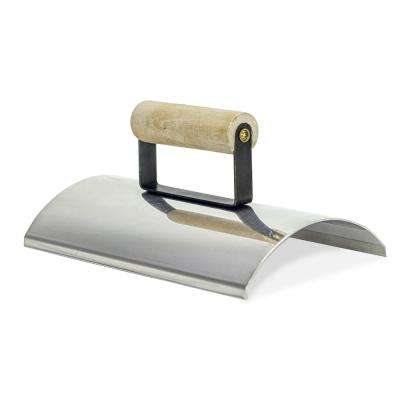 10 in. x 6 in. Stainless Steel Wall Capping Edger with Guide and Single Wood Handle