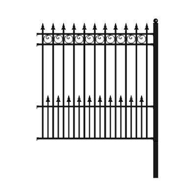 Prague Style 5 ft. x 5.5 ft. Black Iron DIY Fence Panel