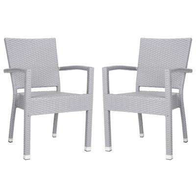Kelda Stacking Wicker Outdoor Dining Chair Grey (Set of 2)