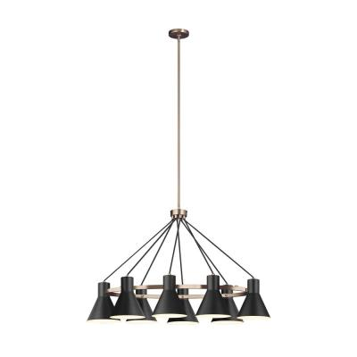 Towner 8-Light Black Shade with Satin Bronze Accents Chandelier