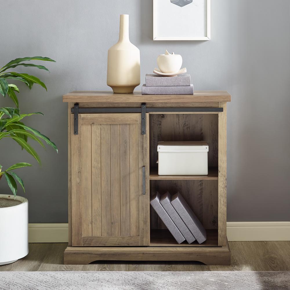 32 in. Rustic Oak Modern Farmhouse Accent Cabinet