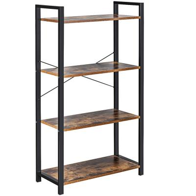 47 in. Brown Wood Iron 4 Shelf Standard Style Bookcase with Anti-tip Device