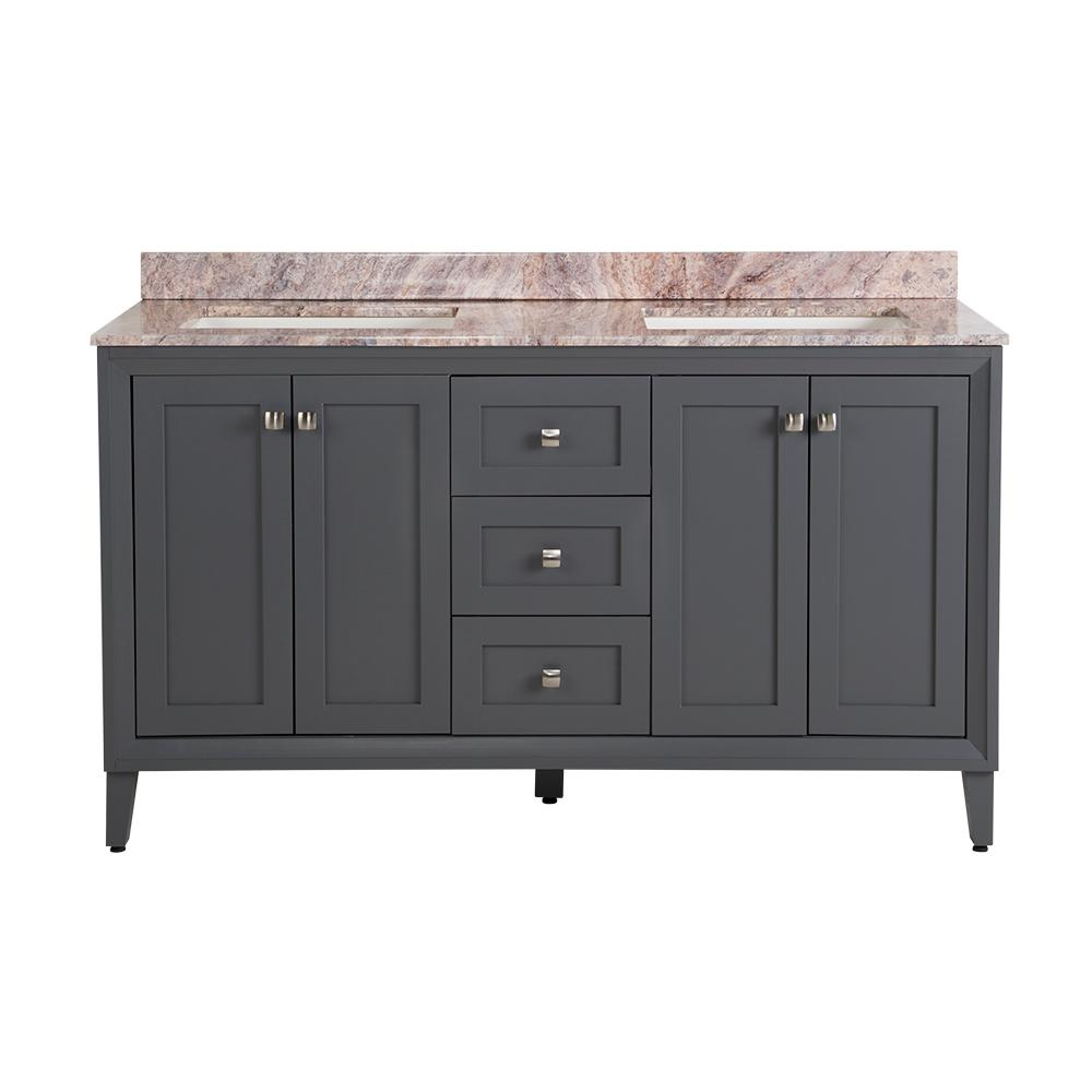 St. Paul Austell 61 in. W x 22 in. D Bath Vanity in Graphite Gray with Stone Effects Vanity Top in Cold Fusion with White Sink