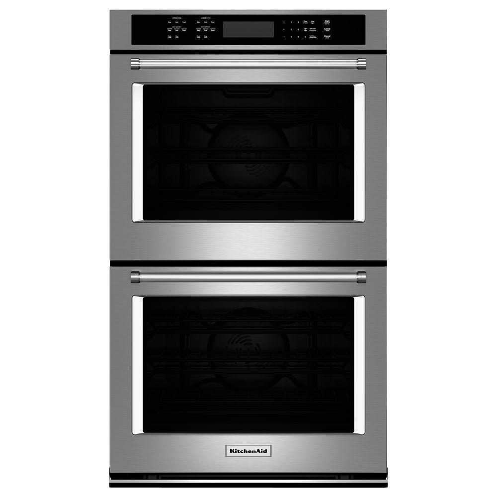 kitchenaid 30 in double electric wall oven self cleaning with rh homedepot com