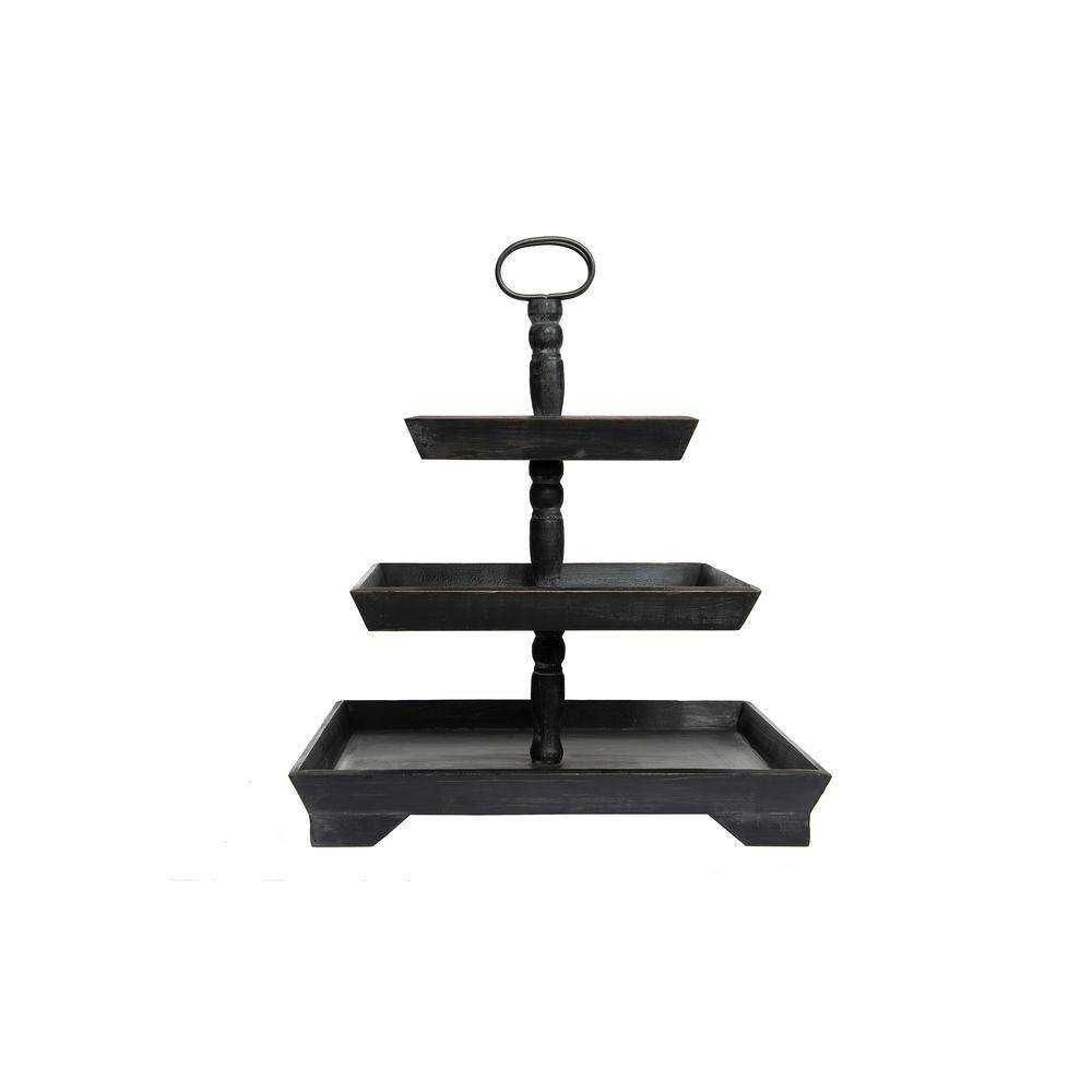 Black Wood Three Tier Decorative Tray