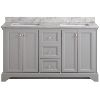 Stratfield 61 in. W x 22 in. D Bath Vanity in Sterling Gray with Stone Effect Vanity Top in Winter Mist with White Sink