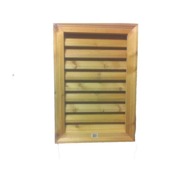 16 in. x 24 in. Rectangular Wood Built-in Screen Gable Louver Vent
