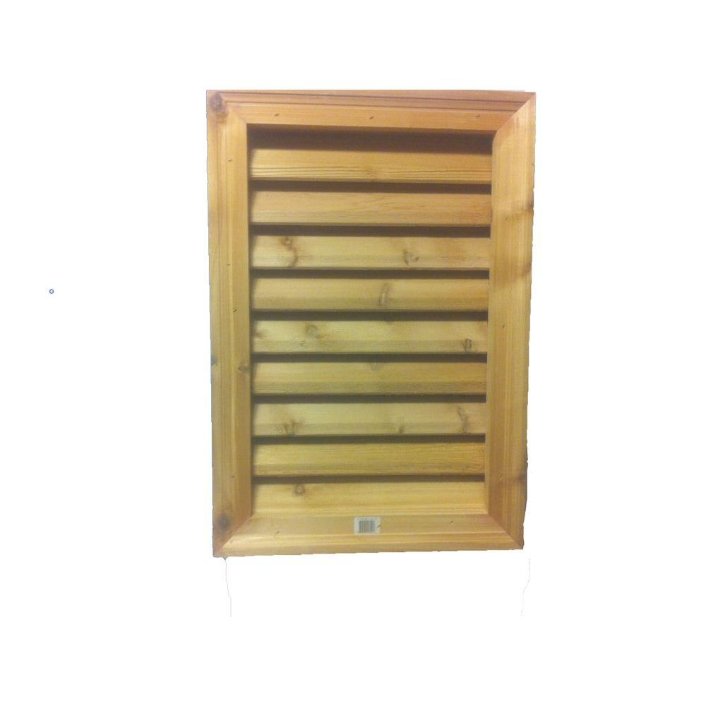 Al's Millworks 16 in. x 24 in. Cedar Wood Rectangular Louver Vent