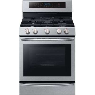 30 in. 5.8 cu. ft. Single Oven Gas Range with Self-Cleaning and True Convection Oven in Stainless Steel