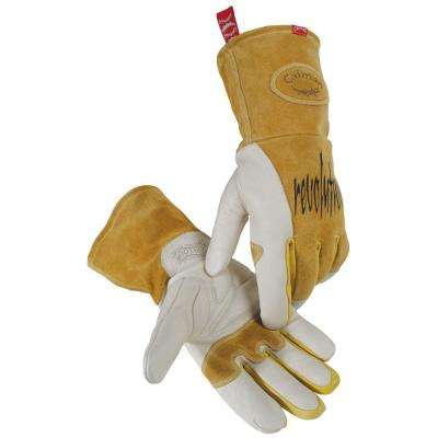 Extra Large Gold Ergonomic Cow Grain MIG Welding Gloves