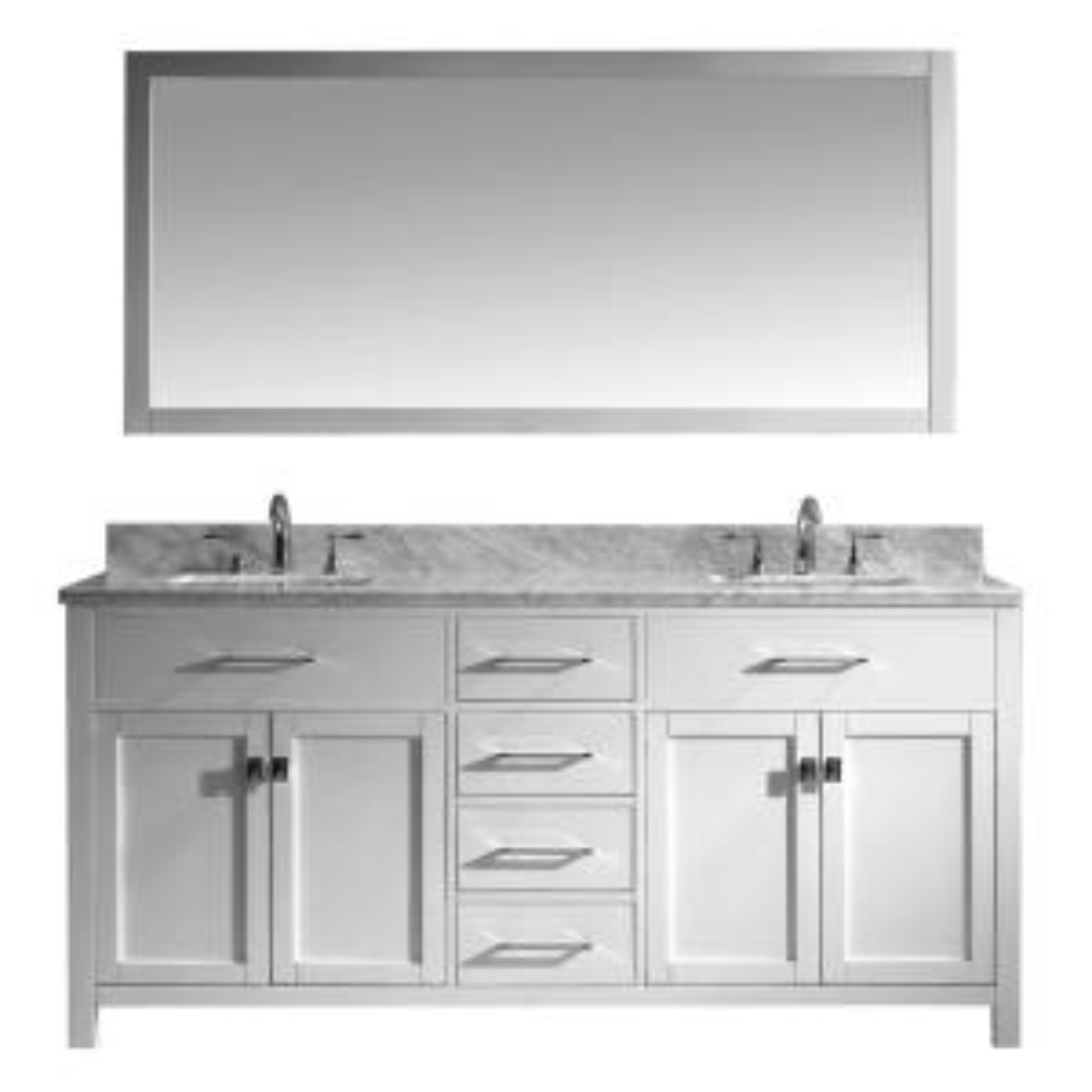 Virtu USA Caroline 72 inch W x 22 inch D Vanity in White with Marble Vanity Top in White with White Basin and Mirror by Virtu USA