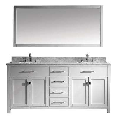 Caroline 72 in. W x 22 in. D Vanity in White with Marble Vanity Top in White with White Basin and Mirror