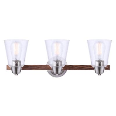 Dex 24 in. 3-Light Brushed Nickel and Faux Wood Vanity Light with Seeded Glass Shades