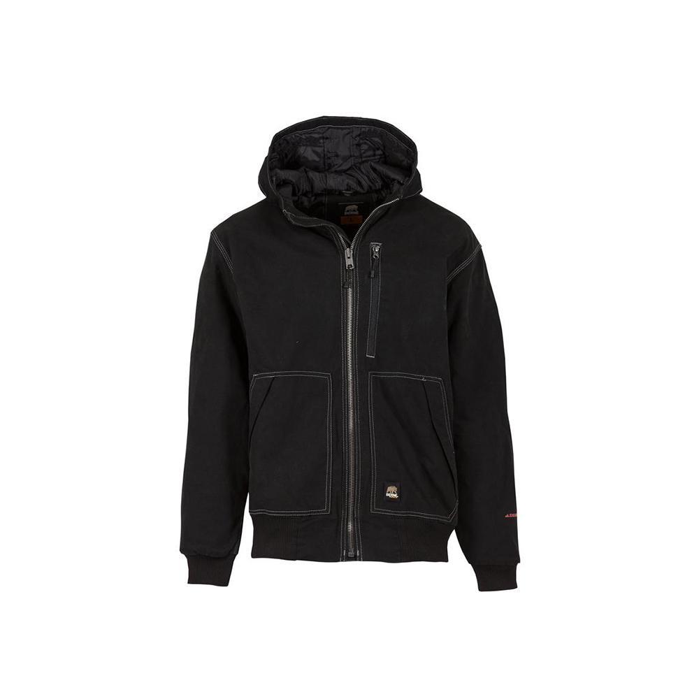 Men's Large Regular Black 100% Cotton Modern Hooded Jacket