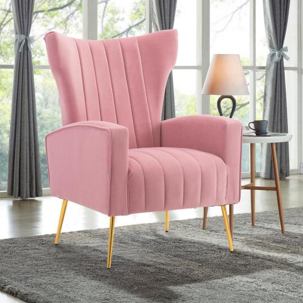 Boyel Living Pink Modern Accent Fabric Chair Single Sofa Comfy Upholstered Arm Chair Living Room Furniture-WF-HFSN-131PK - The Home Depot