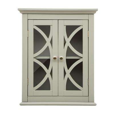 Gray Wooden Wall Storage Cabinet with Glass Double Doors