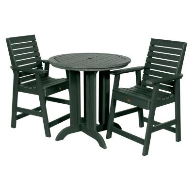 Weatherly Charleston Green 3-Piece Recycled Plastic Round Outdoor Balcony Height Dining Set