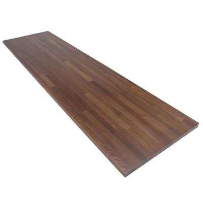 8 ft. L x 2 ft. 1 in. D x 1.5 in. T Butcher Block Countertop in Finished Walnut