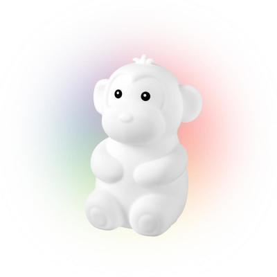 Marley Monkey Multi-Color Changing Integrated LED Rechargeable Silicone Night Light Lamp, White
