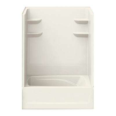 37 in. x 60 in. x 79 in. Bath and Shower Kit Left-Hand Drain in Biscuit