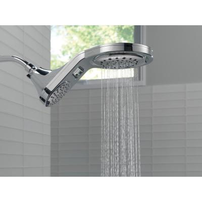 HydroRain Two-in-One 5-Spray 7.9 in.  Double Wall Mount Fixed Shower Head in Chrome