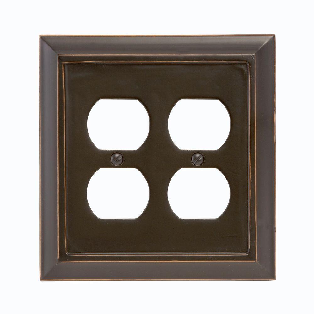 Distressed 2 Duplex Wall Plate - Black