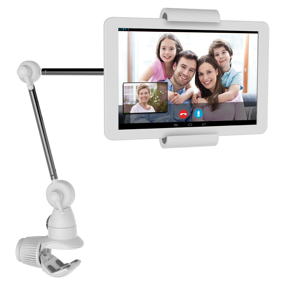 Barkan 7 in. x 12 in. Universal Full Motion Multi-Position Tablet Mount for Tablets up to 22 lbs., White The Barkan elegant universal full - motion 360° multi - position tablet mount fits tablets sizes 7 in. - 12 in./18 cm - 31 cm and electronic readers sizes 6 in. - 10 in./16 cm - 31 cm. On one end a tablet-clamp system holds 2.2 lbs./1 kg tablets while the other end is a multi-surface clamp that can be installed on various horizontal and vertical surfaces (desk, pole and handle) up to 2 in. /5 cm thick. The tablet can be positioned at any distance up to 22 in./56 cm around the surface connection point (above or under, left - right, 360° rotation) for convenient use. The spring-clamp rotates 360° for portrait and landscape tablet orientation. The mount can be installed with the multi-surface clamp without drilling or with a screw-adapter to a wall/desk for extra stability. The mount has a 5 year warranty and is in colors white and silver.