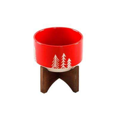 4 in. Red Ceramic Christmas Trees Textured Planter on Wood Stand
