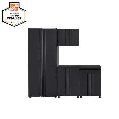 Welded 78 in. W x 75 in. H x 19 in. D Steel Garage Cabinet Set in Black (4-Piece)