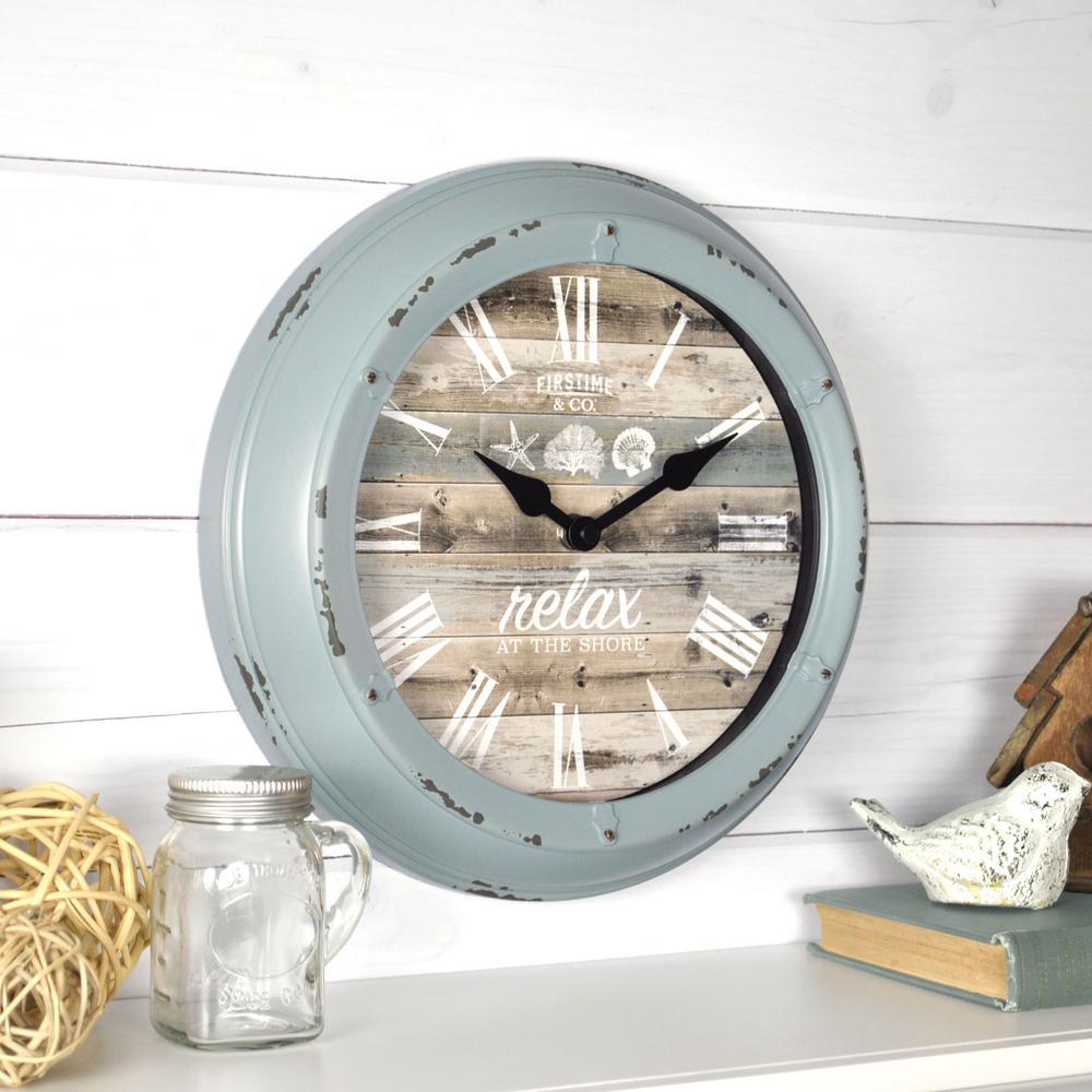 Pierside Aged Teal Wall Clock