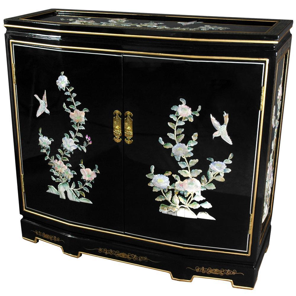 Oriental Furniture Black Lacquer Fl Design Slant Front Cabinet Lcq 35 Bb The Home Depot