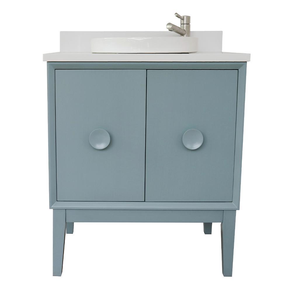 Bellaterra Home Stora 31 in. W x 22 in. D Bath Vanity in Aqua Blue with Quartz Vanity Top in White with White Round Basin